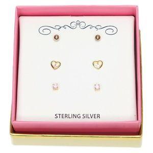 Children Earrings 18K Gold/Sterling Silver Pink Cu